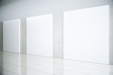 空ホール、モックアップ、3 D レンダリングで空白の正方形ポスター