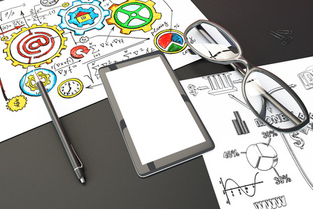 schemes: Blank smartphone screen with pen, glasses and papers with business concept schemes, mock up Stock Photo