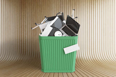 big bin: Office stuff in big green trash bin at wooden background, 3D Render Stock Photo