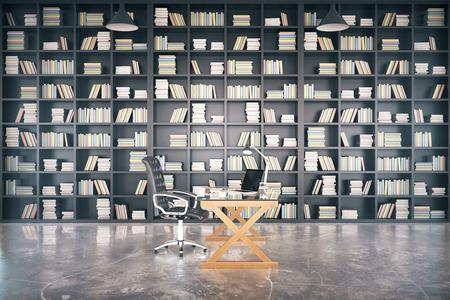 biblioteca privada grande con mesa vidriosos y piso de concreto, 3d