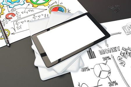 schemes: Blank digital tablet screen on black table with brainstorming schemes on the papers, mock up, 3D Render Stock Photo