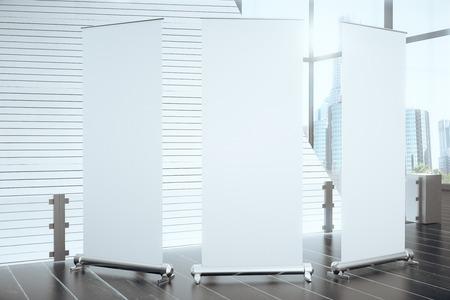 black floor: Blank posters in modern hall with black floor and big window, mock up, 3D Render