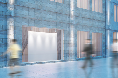 Witte lege raad in het raam van het gebouw en mooving mensen, spot, 3D Render Stockfoto