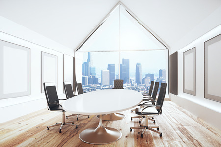 office window view: Luxury conference room with desk and chairs and big window, 3D Render
