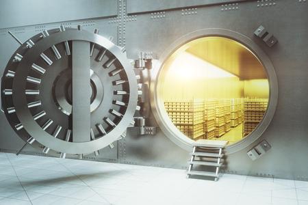 Open bank vault with golden walls and gold stacks. 3D Render Foto de archivo