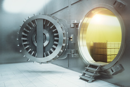 sideview: Sideview of an open bank vault with gold stacks. 3D Render
