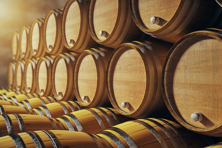 winery: Close up of wooden barrels in winery. 3D Render