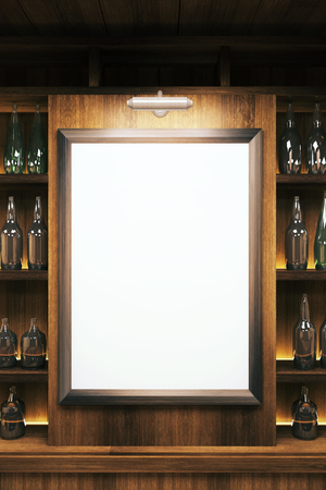 closeup: Closeup of a blank whiteboard in pub interior. Mock up, 3D Render