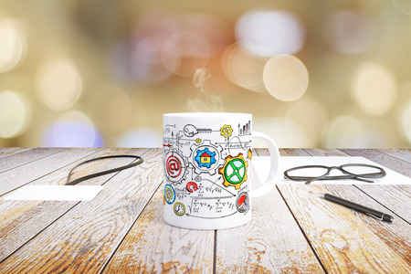 schemes: Concept business schemes drawn on a mug of coffee