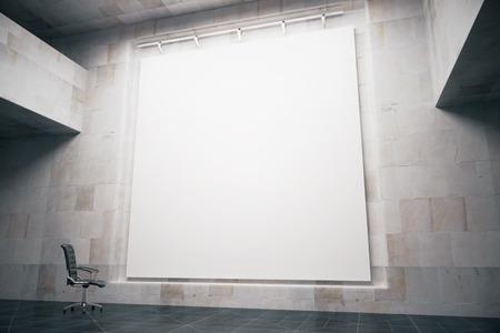 コンクリート内部の回転椅子で空白のホワイト ボードの側面図です。モックアップ、3 D レンダリング