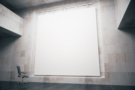 Side view of blank whiteboard in concrete interior with swivel-chair. Mock up, 3D Render