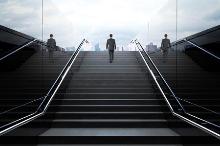 사업가와 보행자 지하철 블랙 계단. 3D 렌더링
