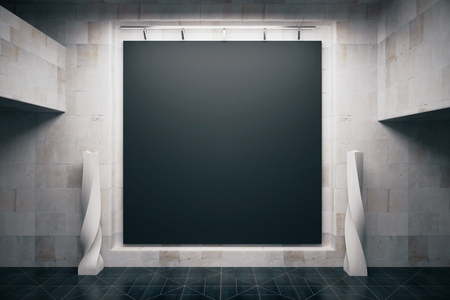 Front view of blank blackboard in empty concrete interior. Mock up, 3D Render