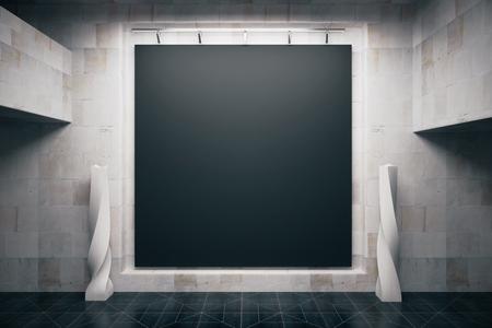 Front view of blank blackboard in empty concrete interior. Mock up, 3D Render