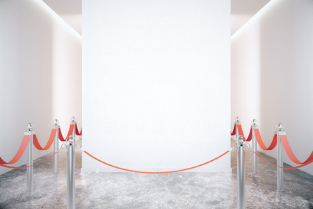 light red: Blank white wall in an empty room with grey marble floor and red ribbons on steel poles. Mock up, 3D Render