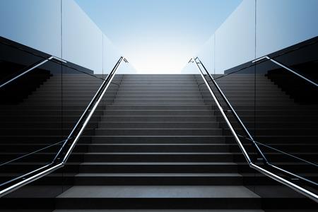 보행자 지하철에서 빈 검은 계단. 3D 렌더링 스톡 콘텐츠