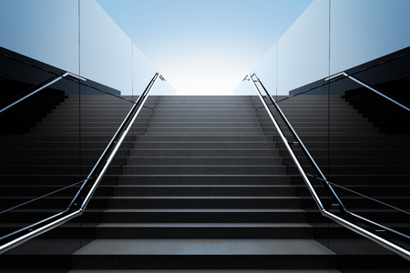 ladder: Empty black stairs in pedestrian subway. 3D Render Stock Photo
