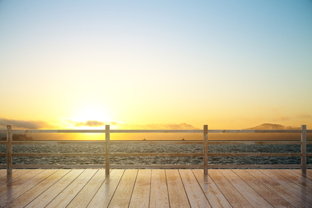 hand rail: Wooden observation platform with sunset view. 3D Render Stock Photo