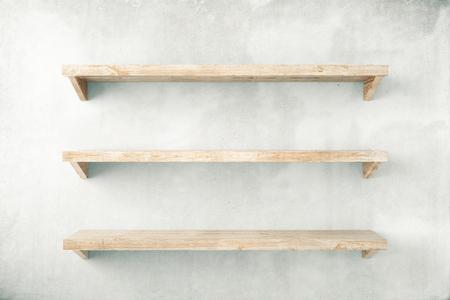 Lege planken op de betonnen muur achtergrond. Mock-up, 3D Render Stockfoto