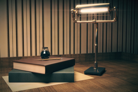 inkpot: Two books with ink-pot on top and a lamp on wooden table. 3D Render