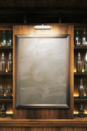 Close-up van een blanco bord in pub interieur. Mock-up, 3D Render