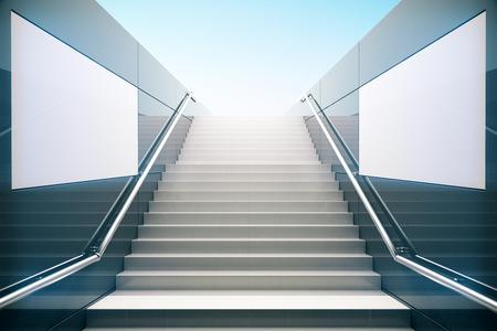 Empty white stairs in pedestrian subway. 3D Render