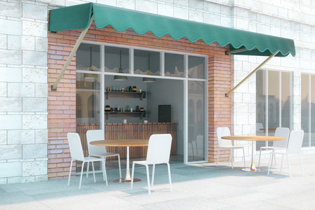 Small cafe with brick walls and green canopy exterior design. 3D Render