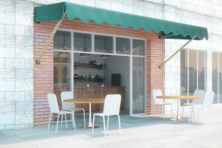 Kleine café met bakstenen muren en groene bladerdak exterieur design. 3D Render Stockfoto