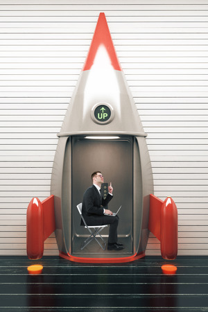 Success concept with businessman looking up and sitting on a chair inside rocket lift. 3D Render