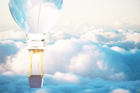 Idea concept with lightbulb airballon in blue skies. 3D Render