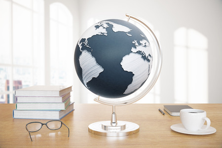 america's cup america: Wooden desktop with globe, coffee, books and glasses on sunlit background. 3D Render