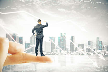 finger tip: Research concept with businessman standing on finger tip, looking into the distance on digital city background with downward arrows. 3D Render Stock Photo