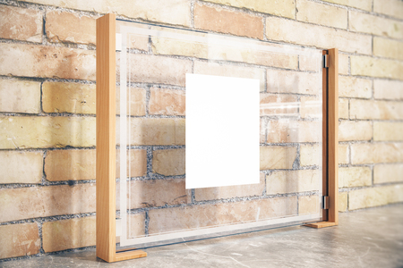 in insert: Side view of glass billboard with white insert on brick wall. Mock up, 3D Render