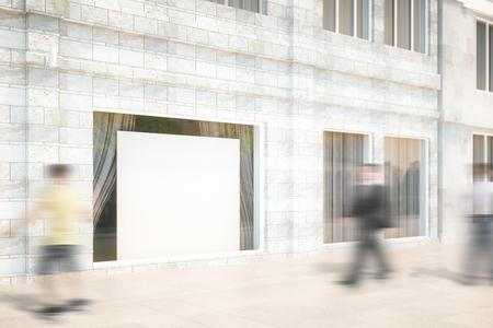 De vitrine avec un vide blanc panneau, maquette, 3D Render Banque d'images - 54210601