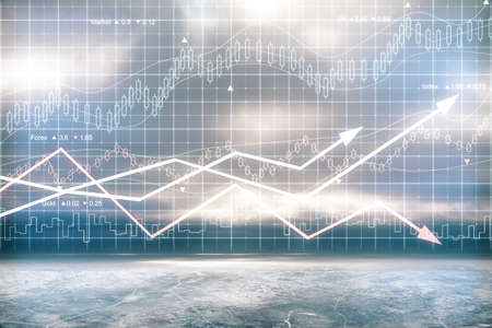 trading floor: Digital chart with arrows and indicators Stock Photo
