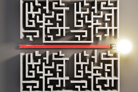 cutting through: Solution concept with arrow and light bulb cutting through maze. 3D Rendering