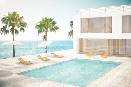 hotel exterior: Hotel exterior with swimming pool and palm trees at daytime. 3D Rendering Stock Photo