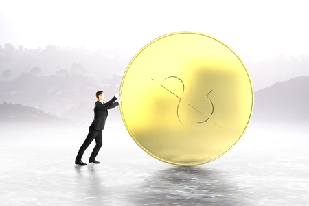 sisyphus: Businessman pushing huge dollar coin on abstract grey background