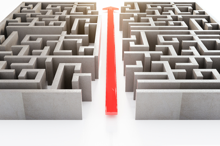 cutting through: Front view of red arrow cutting through a complicated maze. 3D Rendering Stock Photo
