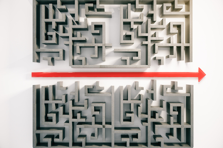 cutting through: Red arrow cutting through a complicated maze. 3D Rendering Stock Photo