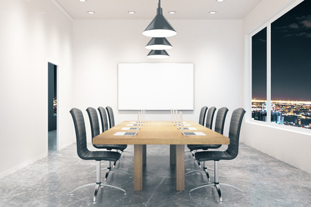 board room: Conference room interior with blank board and city view at night. Mock up, 3D Rendering
