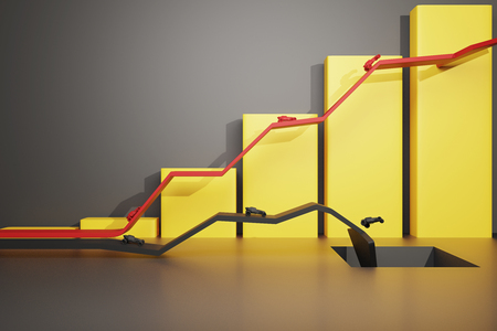 sideview: Different direction concept with abstract cars going in different directions on red and black arrows. Yellow chart bars in the background. Sideview, 3D Rendering Stock Photo