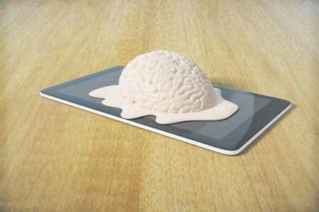 degradation: Mental degradation concept with brain melting on tablet placed on wooden desktop. 3D Rendering