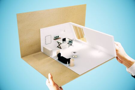 furnished: Hands holding office miniature on blue background. Sideview, 3D Rendering