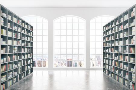 Bibliotheek interieur met enorme boekenkasten, betonnen vloer en uitzicht op de stad. 3D Rendering Stockfoto