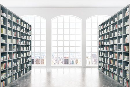 Library interior design with massive bookshelves, concrete floor and city view. 3D Rendering