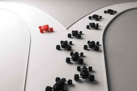 going in: Different direction concept with abstract red car going in one direction and flow of black cars in another. 3D Rendering