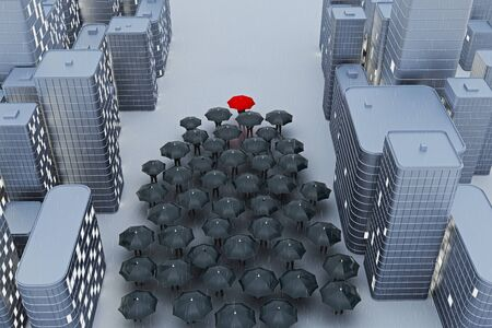 drizzling rain: Leadership concept with crowd of people with black umbrellas following person with red umbrella in abstract city. 3D Rendering