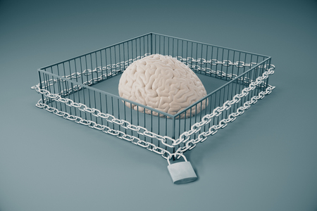 Lack of free thinking concept with brain locked in cage with chains on grey background. 3D Rendering