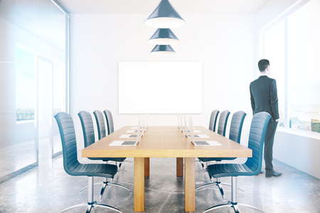 conference room: Conference room interior with blank board and businessman. Mock up, 3D Rendering